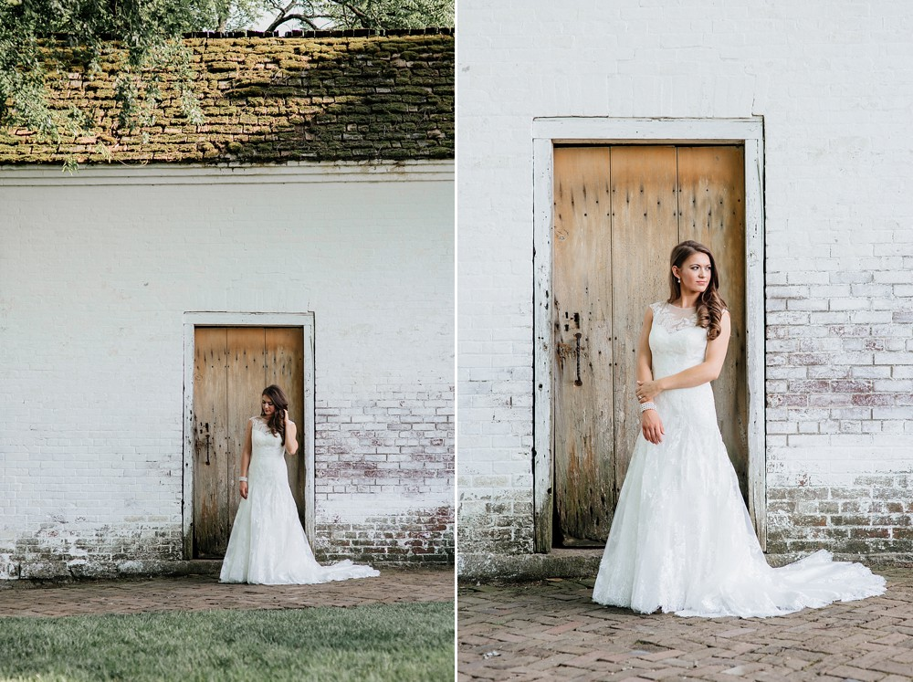 Bridal Portrait at Carnton Plantation in Franklin TN. Simple, Beautiful. Bride Smiling. Wood Door background. Rustic.