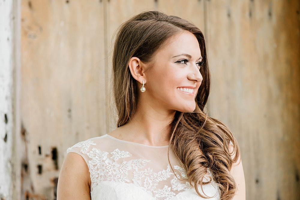 Bridal Portrait at Carnton Plantation in Franklin TN. Simple, Beautiful. Bride Smiling. Wood Door background. Rustic. Historic.