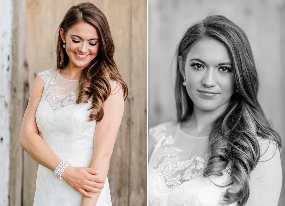 Bridal Portrait at Carnton Plantation in Franklin TN. Simple, Beautiful. Bride Smiling. Wood Door background. Rustic. Serious and Smiling looking down.