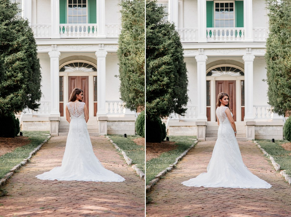 Bridal Portrait at Carnton Plantation in Franklin TN. Simple, Beautiful. Bride Smiling. Wood Door background. Rustic. Plantation home. Historic Bride.