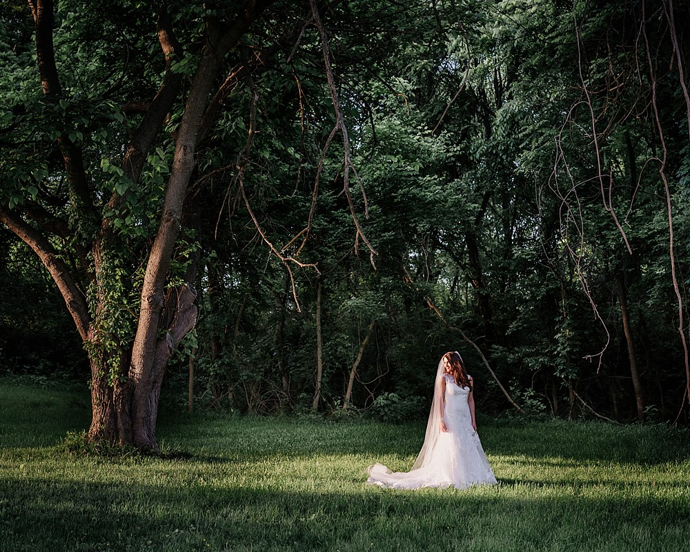 Bridal Portrait at Carnton Plantation in Franklin TN. Simple, Beautiful. Bride Smiling. Beauty and grace in the forest.