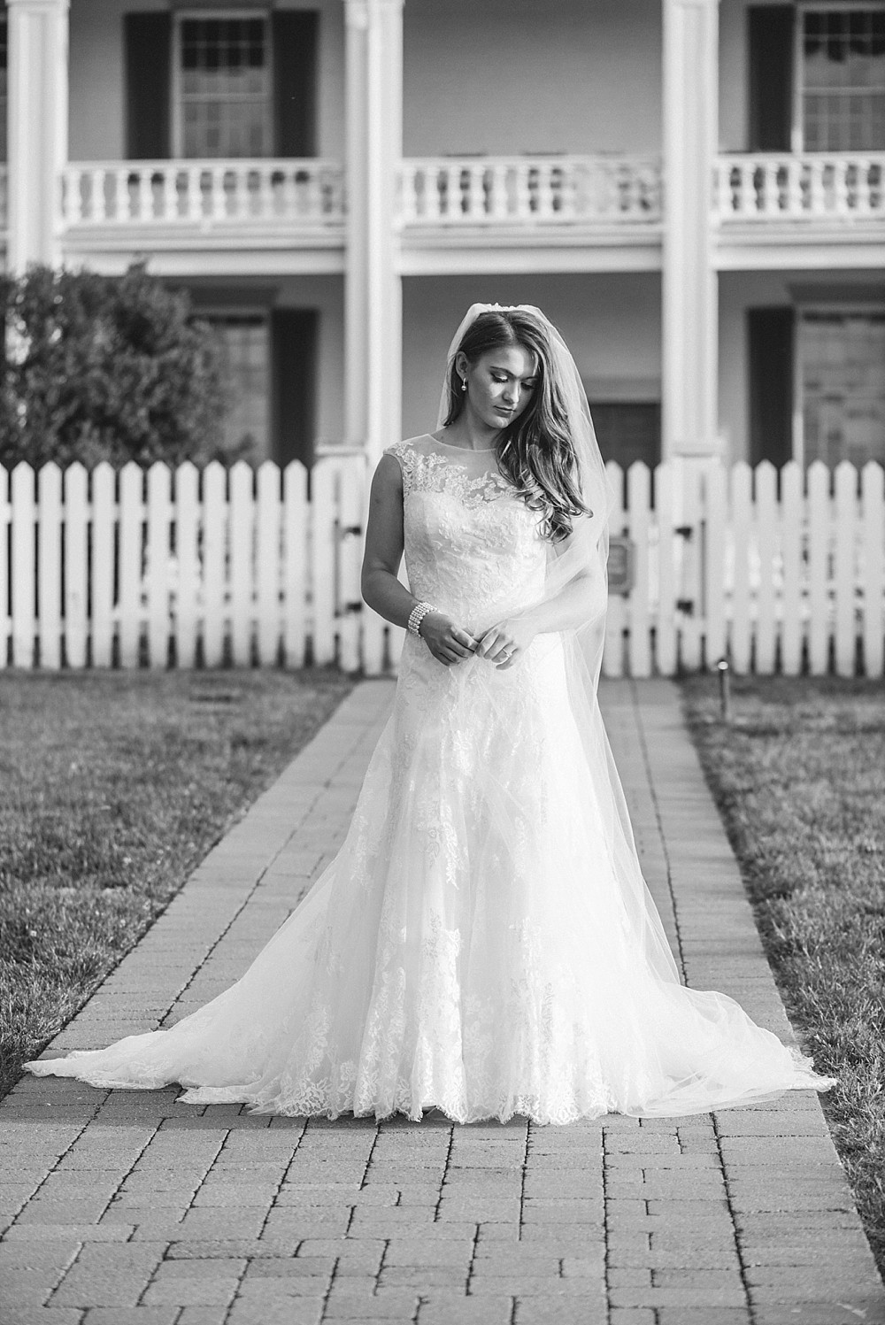 Bridal Portrait at Carnton Plantation in Franklin TN. Simple, Beautiful. Bride in front of historic home.