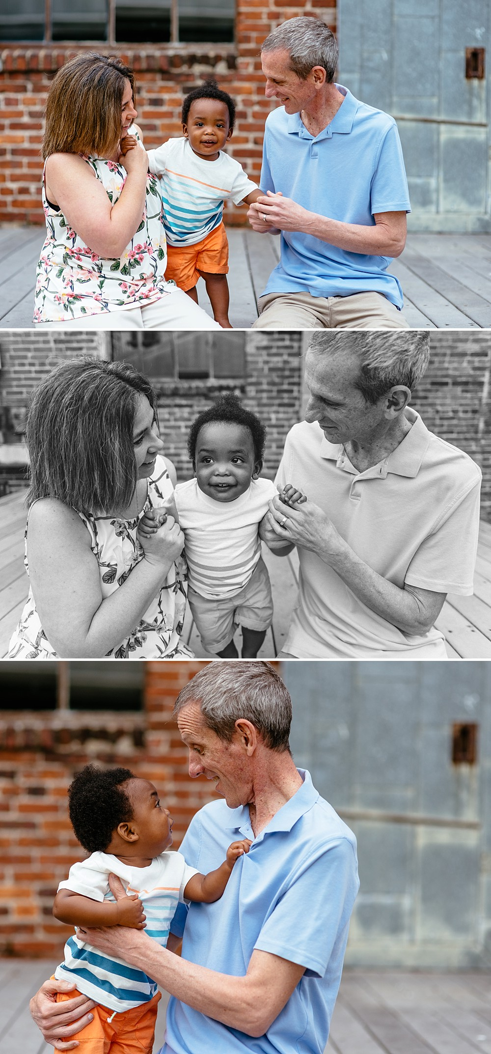 Baby boy who is adopted with his parents on his milestone birthday photo session at an old factory with brick.