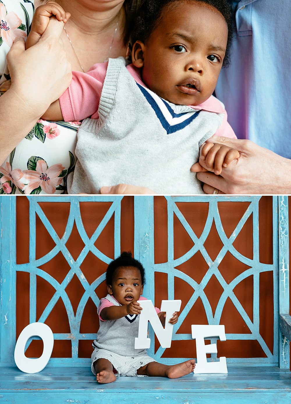 Little boy sitting on baby blue bench with individual wooden letter signs that spell the word ONE. He is holding the N with a stunned look on his face