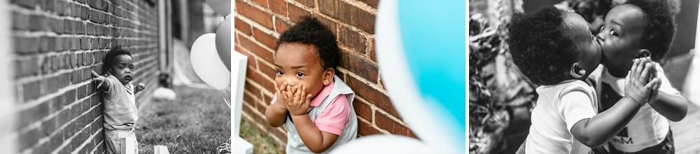 One year old being silly blowing kisses and standing up against brick wall, also a photo of him kissing himself in the mirror.