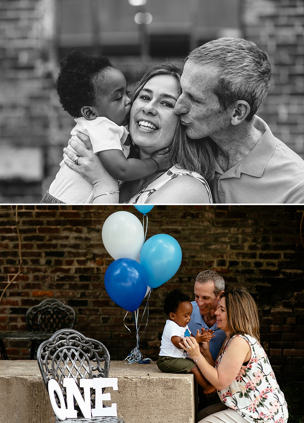 Two images of a family of three. Black and white image with Dad and Son kissing mommy. Image of mom and dad interacting with Son while he sits on cement block with blue and white balloons in the background