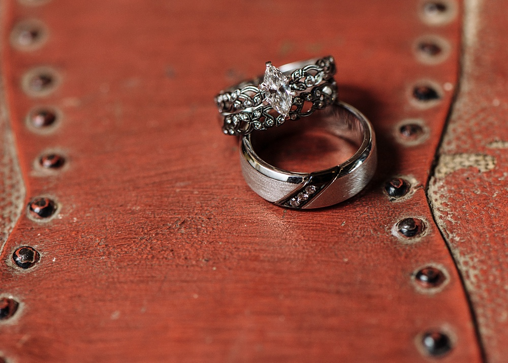 Close up of wedding rings on red chest