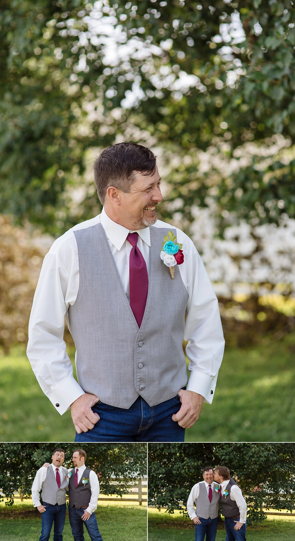 Candid photo of groom on a sunny day looking off while smiling